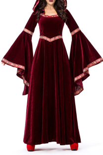 Burgundy Valentines Day Party Vintage Split Joint Flounce Print Costumes