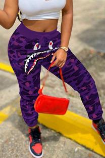 Purple Fashion Casual Camouflage Print Split Joint Harlan Bottoms
