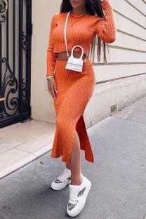 Orange Fashion Street Solid Slit O Neck Long Sleeve Two Pieces