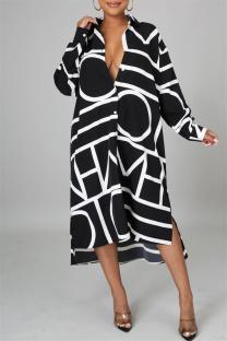 Black Fashion Casual Print Basic Turndown Collar Long Sleeve Shirt Dress