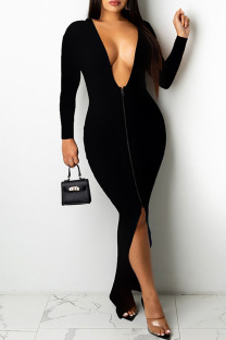 Black Sexy Casual Solid Backless Slit V Neck Long Sleeve Dresses