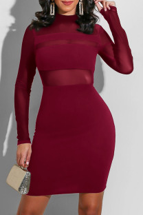 Burgundy Fashion Sexy Solid Split Joint O Neck One Step Skirt Dresses