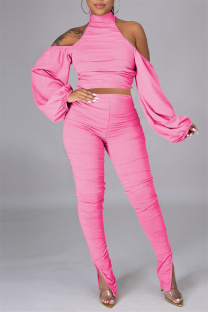 Pink Sexy Solid Bandage Backless Fold Turtleneck Long Sleeve Two Pieces