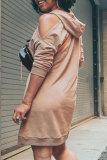 Khaki Pre-sale Fashion Casual Solid Basic Hooded Collar Long Sleeve Dresses