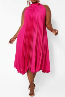 Red Casual Plain Fold O Neck Plus Size Dresses