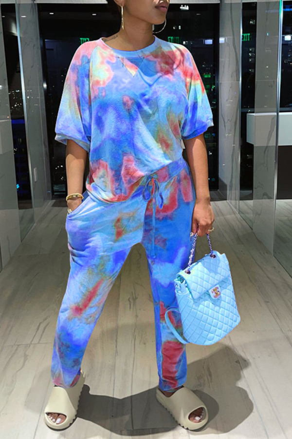 Blue Casual Patchwork Tie-dye O Neck Long Sleeve Two Pieces