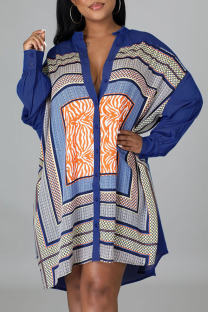 Dark Blue Fashion Casual Geometric Split Joint O Neck A Line Dresses