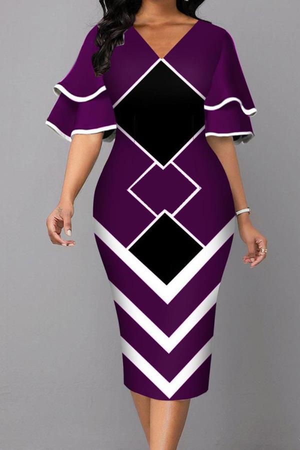 Dark Purple Fashion Street Print Split Joint V Neck One Step Skirt Dresses