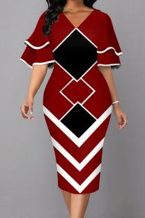 Red Fashion Street Print Split Joint V Neck One Step Skirt Dresses
