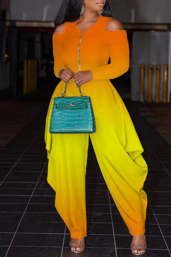 Orange Fashion Casual Gradual Change Print Hollowed Out V Neck Regular Jumpsuits