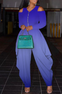 Blue Fashion Casual Gradual Change Print Hollowed Out V Neck Regular Jumpsuits