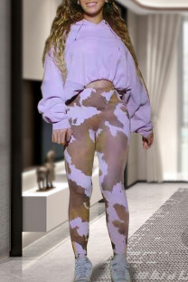 Light Purple Casual Print Split Joint Hooded Collar Long Sleeve Two Pieces