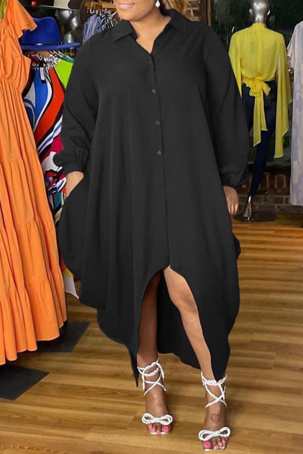 Black Fashion Elegant Solid Split Joint Turndown Collar Irregular Dress Plus Size Dresses