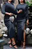 Black Sexy Solid Split Joint High Opening Fold O Neck One Step Skirt Dresses