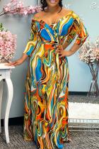 Multicolor Fashion Casual Print Basic V Neck Long Sleeve Dresses