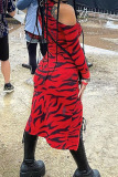 Red Sexy Print Split Joint Slit Zipper Half A Turtleneck Straight Dresses