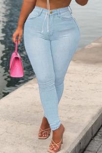 Baby Blue Fashion Street Solid Denim Jeans
