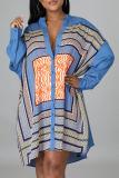 Baby Blue Fashion Casual Geometric Split Joint O Neck A Line Dresses