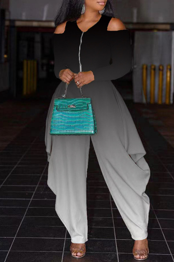 Black Fashion Casual Gradual Change Print Hollowed Out V Neck Regular Jumpsuits