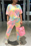 Pink Casual Patchwork Tie-dye O Neck Long Sleeve Two Pieces