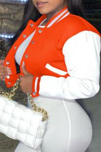Orange Fashion Casual Patchwork Cardigan Outerwear