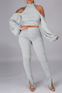 Light Gray Sexy Solid Bandage Backless Fold Turtleneck Long Sleeve Two Pieces