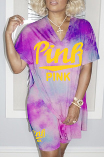 Purple Fashion Street Print Slit O Neck Short Sleeve Two Pieces