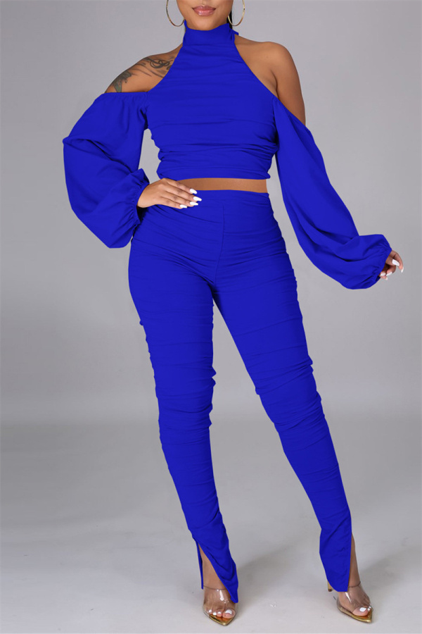 Royal Blue Sexy Solid Bandage Backless Fold Turtleneck Long Sleeve Two Pieces