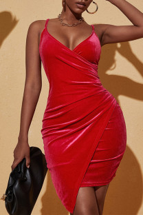 Red Fashion Sexy Solid Backless Asymmetrical V Neck Sling Dress