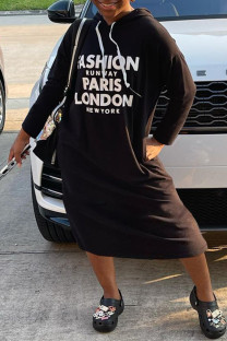 Black White Fashion Casual Print Basic Hooded Collar Long Sleeve Dresses