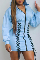 Light Blue Fashion Casual Solid Bandage Split Joint Hooded Collar Long Sleeve Dresses