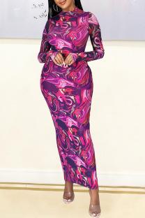 Purple Sexy Print Split Joint Slit One Step Skirt Dresses