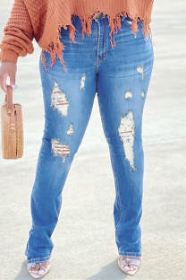 Light Blue Fashion Casual Solid Ripped High Waist Regular Jeans