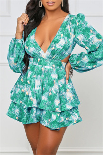 Green Fashion Casual Print Hollowed Out V Neck Long Sleeve Dresses