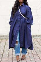 Blue Fashion Casual Solid Basic Turndown Collar Shirt Dress
