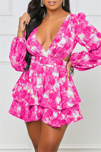 Pink Fashion Casual Print Hollowed Out V Neck Long Sleeve Dresses