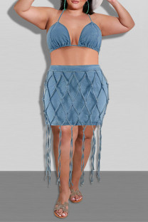 Blue Fashion Sexy Patchwork Tassel Bandage Backless Halter Plus Size Two Pieces