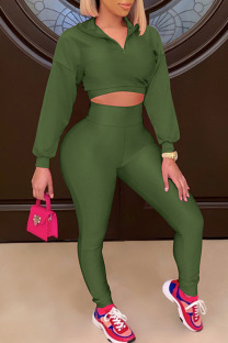 Green Casual Solid Split Joint Turndown Collar Long Sleeve Two Pieces