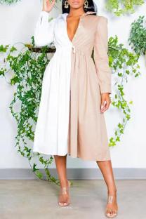 Khaki Fashion Casual Patchwork Basic Turndown Collar Shirt Dress