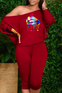 Red Sexy Print Split Joint One Shoulder Long Sleeve Two Pieces