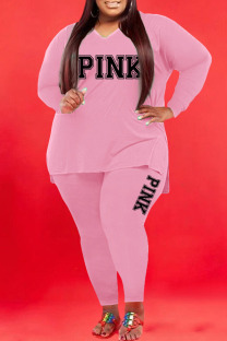 Pink Casual Print Split Joint V Neck Plus Size Two Pieces