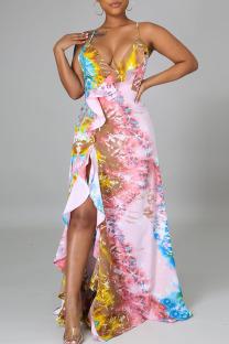 Multicolor Sexy Print Split Joint Backless Flounce Asymmetrical V Neck Sling Dress Dresses