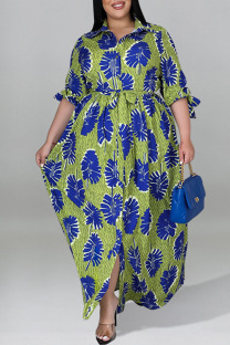 Green Casual Print Split Joint With Belt Turndown Collar Straight Plus Size Dresses