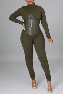 Green Fashion Casual Patchwork Solid Zipper Half A Turtleneck Long Sleeve Two Pieces