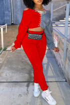 Red Fashion Casual Patchwork Bandage O Neck Long Sleeve Two Pieces