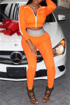 Orange Casual Sportswear Patchwork Basic Zipper Collar Long Sleeve Two Pieces