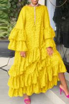 Yellow Fashion Casual Print Split Joint O Neck Long Sleeve Dresses