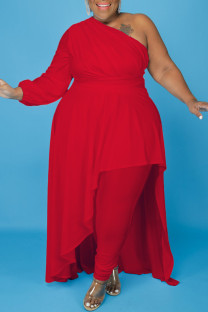 Red Fashion Casual Plus Size Solid Backless Oblique Collar Irregular Dress