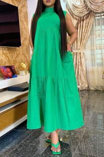 Green Casual Solid Flounce Half A Turtleneck Cake Skirt Plus Size Dresses