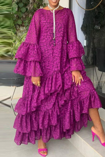 Purple Fashion Casual Print Split Joint O Neck Long Sleeve Dresses